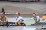 The Boat Race season 2018 - Women's Boat Race Trial Eights (CUWBC, Cambridge): Expecto Patronum . here 5 Kelsey Barolak, 4 Laura Foster, 3 Sally O Brien. River Thames between Putney Bridge and Mortlake, London SW15,  United Kingdom, on 05 December 2017 at 12:44, image #62