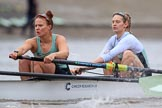 The Boat Race season 2018 - Women's Boat Race Trial Eights (CUWBC, Cambridge): Expecto Patronum near the Putney boathouses, here 5 Kelsey Barolak, 4 Laura Foster. River Thames between Putney Bridge and Mortlake, London SW15,  United Kingdom, on 05 December 2017 at 12:44, image #61