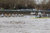 The Boat Race season 2018 - Women's Boat Race Trial Eights (CUWBC, Cambridge): Wingardium Leviosa leading near the Putney boathouses. River Thames between Putney Bridge and Mortlake, London SW15,  United Kingdom, on 05 December 2017 at 12:44, image #68