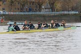 The Boat Race season 2018 - Women's Boat Race Trial Eights (CUWBC, Cambridge): The leading Wingardium Leviosa near the Putney boathouses, with Cox-Sophie Wrixon, stroke-Imogen Grant, 7-Myriam Goudet-Boukhatmi, 6-Larkin Sayre, 5-Tricia Smith, 4-Emma Andrews, 3-Pippa Darkin, 2-Sarah Carlotti, bow-Lucy Pike. River Thames between Putney Bridge and Mortlake, London SW15,  United Kingdom, on 05 December 2017 at 12:44, image #69