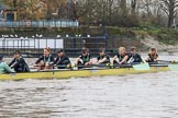 The Boat Race season 2018 - Women's Boat Race Trial Eights (CUWBC, Cambridge): The leading Wingardium Leviosa near the Putney boathouses, with Cox-Sophie Wrixon, stroke-Imogen Grant, 7-Myriam Goudet-Boukhatmi, 6-Larkin Sayre, 5-Tricia Smith, 4-Emma Andrews, 3-Pippa Darkin, 2-Sarah Carlotti, bow-Lucy Pike. River Thames between Putney Bridge and Mortlake, London SW15,  United Kingdom, on 05 December 2017 at 12:44, image #70