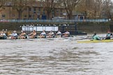 The Boat Race season 2018 - Women's Boat Race Trial Eights (CUWBC, Cambridge): Wingardium Leviosa leading near the Putney boathouses. River Thames between Putney Bridge and Mortlake, London SW15,  United Kingdom, on 05 December 2017 at 12:45, image #71
