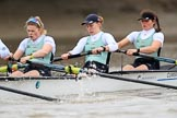 The Boat Race season 2018 - Women's Boat Race Trial Eights (CUWBC, Cambridge): Expecto Patronum, here 3 Sally O Brien, 2 Millie Perrin, bow Eve Caroe. River Thames between Putney Bridge and Mortlake, London SW15,  United Kingdom, on 05 December 2017 at 12:47, image #89