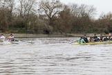 The Boat Race season 2018 - Women's Boat Race Trial Eights (CUWBC, Cambridge): Wingardium Leviosa leading near Mile Post. River Thames between Putney Bridge and Mortlake, London SW15,  United Kingdom, on 05 December 2017 at 12:46, image #87