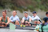 The Boat Race season 2018 - Women's Boat Race Trial Eights (CUWBC, Cambridge): A close fight betwwen the two Cambridge crews, 5 Kelsey Barolak, 4 Laura Foster, 3 Sally O Brien, 2 Millie Perrin and  bow Eve Caroe in Expecto Patronum. River Thames between Putney Bridge and Mortlake, London SW15,  United Kingdom, on 05 December 2017 at 12:49, image #107