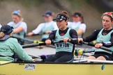 The Boat Race season 2018 - Women's Boat Race Trial Eights (CUWBC, Cambridge): A close fight - cox Sophie Wrixon, stroke Imogen Grant, 7 Myriam Goudet-Boukhatmi in Wingardium Leviosa. River Thames between Putney Bridge and Mortlake, London SW15,  United Kingdom, on 05 December 2017 at 12:50, image #111