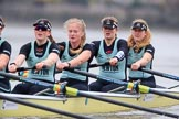 The Boat Race season 2018 - Women's Boat Race Trial Eights (CUWBC, Cambridge): Wingardium Leviosa, here 4 Emma Andrews, 3 Pippa Darkin, 2 Sarah Carlotti, bow Lucy Pike. River Thames between Putney Bridge and Mortlake, London SW15,  United Kingdom, on 05 December 2017 at 12:51, image #114