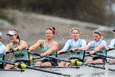 The Boat Race season 2018 - Women's Boat Race Trial Eights (CUWBC, Cambridge): Expecto Patronum with a lot of spray flying around: 6 Thea Zabell, 5 Kelsey Barolak, 4 Laura Foster, 3 Sally O Brien. River Thames between Putney Bridge and Mortlake, London SW15,  United Kingdom, on 05 December 2017 at 12:51, image #115