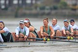The Boat Race season 2018 - Women's Boat Race Trial Eights (CUWBC, Cambridge): Expecto Patronum , here stroke Alice White,  7 Abigail Parker, 6 Thea Zabell, 5 Kelsey Barolak, 4 Laura Foster, 3 Sally O Brien, 2 Millie Perrin, bow Eve Caroe. River Thames between Putney Bridge and Mortlake, London SW15,  United Kingdom, on 05 December 2017 at 12:51, image #117