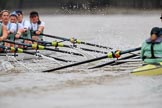 The Boat Race season 2018 - Women's Boat Race Trial Eights (CUWBC, Cambridge): Race umpire Sir Matthew Pinsent had quite a bit of shouting to do as the boats got a bit close at times. River Thames between Putney Bridge and Mortlake, London SW15,  United Kingdom, on 05 December 2017 at 12:51, image #120