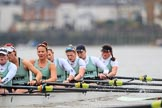 The Boat Race season 2018 - Women's Boat Race Trial Eights (CUWBC, Cambridge): Expecto Patronum , here 7 Abigail Parker, 6 Thea Zabell, 5 Kelsey Barolak, 4 Laura Foster, 3 Sally O Brien, 2 Millie Perrin, bow Eve Caroe. River Thames between Putney Bridge and Mortlake, London SW15,  United Kingdom, on 05 December 2017 at 12:52, image #125
