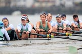 The Boat Race season 2018 - Women's Boat Race Trial Eights (CUWBC, Cambridge): Expecto Patronum , now in the lead, with cox-Sophie Shapter, stroke-Alice White,  7-Abigail Parker, 6-Thea Zabell, 5-Kelsey Barolak, 4-Laura Foster, 3-Sally O Brien, 2-Millie Perrin, bow-Eve Caroe. River Thames between Putney Bridge and Mortlake, London SW15,  United Kingdom, on 05 December 2017 at 12:52, image #124