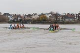 The Boat Race season 2018 - Women's Boat Race Trial Eights (CUWBC, Cambridge): Race umpire Sir Matthew Pinsent had quite a bit of shouting to do as the boats got a bit close at times. River Thames between Putney Bridge and Mortlake, London SW15,  United Kingdom, on 05 December 2017 at 12:52, image #121