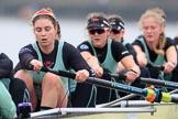 The Boat Race season 2018 - Women's Boat Race Trial Eights (CUWBC, Cambridge): Wingardium Leviosa , here cox-Sophie Wrixon, stroke-Imogen Grant, 7-Myriam Goudet-Boukhatmi, 6-Larkin Sayre, 5-Tricia Smith, 4-Emma Andrews, 3-Pippa Darkin. River Thames between Putney Bridge and Mortlake, London SW15,  United Kingdom, on 05 December 2017 at 12:53, image #128