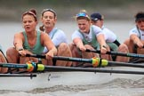 The Boat Race season 2018 - Women's Boat Race Trial Eights (CUWBC, Cambridge): Expecto Patronum, here 5-Kelsey Barolak, 4-Laura Foster, 3-Sally O Brien, 2-Millie Perrin, bow-Eve Caroe. River Thames between Putney Bridge and Mortlake, London SW15,  United Kingdom, on 05 December 2017 at 12:53, image #129