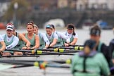 The Boat Race season 2018 - Women's Boat Race Trial Eights (CUWBC, Cambridge): Expecto Patronum has taken the lead on the approach to Chiswick Pier, here  7 Abigail Parker, 6 Thea Zabell, 5 Kelsey Barolak, 4 Laura Foster, 3 Sally O Brien, 2 Millie Perrin, bow Eve Caroe. River Thames between Putney Bridge and Mortlake, London SW15,  United Kingdom, on 05 December 2017 at 12:54, image #134
