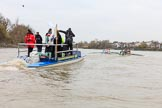 The Boat Race season 2018 - Women's Boat Race Trial Eights (CUWBC, Cambridge): Race umpire Sir Matthew Pinsent had quite a bit of shouting to do as the boats got a bit close at times. River Thames between Putney Bridge and Mortlake, London SW15,  United Kingdom, on 05 December 2017 at 12:52, image #122