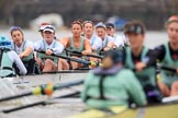 The Boat Race season 2018 - Women's Boat Race Trial Eights (CUWBC, Cambridge): Expecto Patronum has taken the lead on the approach to Chiswick Pier, here  cox Sophie Shapter, stroke Alice White,  7 Abigail Parker, 6 Thea Zabell, 5 Kelsey Barolak, 4 Laura Foster, 3 Sally O Brien, 2 Millie Perrin, bow Eve Caroe. River Thames between Putney Bridge and Mortlake, London SW15,  United Kingdom, on 05 December 2017 at 12:54, image #135