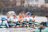 The Boat Race season 2018 - Women's Boat Race Trial Eights (CUWBC, Cambridge): Expecto Patronum:  Cox-Sophie Shapter, stroke-Alice White,  7-Abigail Parker, 6-Thea Zabell, 5-Kelsey Barolak, 4-Laura Foster, 3-Sally O Brien, 2-Millie Perrin, bow-Eve Caroe. River Thames between Putney Bridge and Mortlake, London SW15,  United Kingdom, on 05 December 2017 at 12:54, image #137