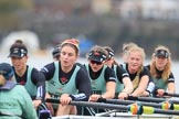 The Boat Race season 2018 - Women's Boat Race Trial Eights (CUWBC, Cambridge): Wingardium Leviosa:  Cox-Sophie Wrixon, stroke-Imogen Grant, 7-Myriam Goudet-Boukhatmi, 6-Larkin Sayre, 5-Tricia Smith, 4-Emma Andrews, 3-Pippa Darkin, 2-Sarah Carlotti, bow-Lucy Pike. River Thames between Putney Bridge and Mortlake, London SW15,  United Kingdom, on 05 December 2017 at 12:54, image #139