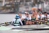 The Boat Race season 2018 - Women's Boat Race Trial Eights (CUWBC, Cambridge): Expecto Patronum:  Cox-Sophie Shapter, stroke-Alice White,  7-Abigail Parker, 6-Thea Zabell, 5-Kelsey Barolak, 4-Laura Foster, 3-Sally O Brien, 2-Millie Perrin, bow-Eve Caroe,. River Thames between Putney Bridge and Mortlake, London SW15,  United Kingdom, on 05 December 2017 at 12:54, image #140