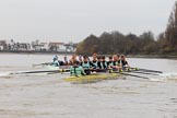 The Boat Race season 2018 - Women's Boat Race Trial Eights (CUWBC, Cambridge): Expecto Patronum leading on the approach to the bandstand. River Thames between Putney Bridge and Mortlake, London SW15,  United Kingdom, on 05 December 2017 at 12:55, image #142