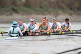 The Boat Race season 2018 - Women's Boat Race Trial Eights (CUWBC, Cambridge): Expecto Patronum:  Cox-Sophie Shapter, stroke-Alice White,  7-Abigail Parker, 6-Thea Zabell, 5-Kelsey Barolak, 4-Laura Foster, 3-Sally O Brien, 2-Millie Perrin, bow-Eve Caroe. River Thames between Putney Bridge and Mortlake, London SW15,  United Kingdom, on 05 December 2017 at 12:56, image #144