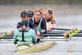 The Boat Race season 2018 - Women's Boat Race Trial Eights (CUWBC, Cambridge): Wingardium Leviosa:  Cox-Sophie Wrixon, stroke-Imogen Grant, 7-Myriam Goudet-Boukhatmi, 6-Larkin Sayre, 5-Tricia Smith, 4-Emma Andrews, 3-Pippa Darkin, 2-Sarah Carlotti, bow-Lucy Pike. River Thames between Putney Bridge and Mortlake, London SW15,  United Kingdom, on 05 December 2017 at 12:57, image #148