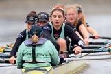 The Boat Race season 2018 - Women's Boat Race Trial Eights (CUWBC, Cambridge): Wingardium Leviosa:  Cox-Sophie Wrixon, stroke-Imogen Grant, 7-Myriam Goudet-Boukhatmi, 6-Larkin Sayre, 5-Tricia Smith, 4-Emma Andrews, 3-Pippa Darkin, 2-Sarah Carlotti, bow-Lucy Pike. River Thames between Putney Bridge and Mortlake, London SW15,  United Kingdom, on 05 December 2017 at 12:57, image #149