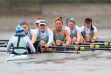 The Boat Race season 2018 - Women's Boat Race Trial Eights (CUWBC, Cambridge): Expecto Patronum:  Cox-Sophie Shapter, stroke-Alice White,  7-Abigail Parker, 6-Thea Zabell, 5-Kelsey Barolak, 4-Laura Foster, 3-Sally O Brien, 2-Millie Perrin, bow-Eve Caroe. River Thames between Putney Bridge and Mortlake, London SW15,  United Kingdom, on 05 December 2017 at 12:57, image #150