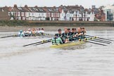 The Boat Race season 2018 - Women's Boat Race Trial Eights (CUWBC, Cambridge): Expecto Patronum leading on the approach to the bandstand. River Thames between Putney Bridge and Mortlake, London SW15,  United Kingdom, on 05 December 2017 at 12:57, image #147