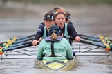 The Boat Race season 2018 - Women's Boat Race Trial Eights (CUWBC, Cambridge): Wingardium Leviosa:  Cox-Sophie Wrixon, stroke-Imogen Grant, 7-Myriam Goudet-Boukhatmi, 6-Larkin Sayre, 5-Tricia Smith, 4-Emma Andrews, 3-Pippa Darkin, 2-Sarah Carlotti, bow-Lucy Pike. River Thames between Putney Bridge and Mortlake, London SW15,  United Kingdom, on 05 December 2017 at 12:58, image #157