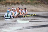 The Boat Race season 2018 - Women's Boat Race Trial Eights (CUWBC, Cambridge): Expecto Patronum:  Cox-Sophie Shapter, stroke-Alice White,  7-Abigail Parker, 6-Thea Zabell, 5-Kelsey Barolak, 4-Laura Foster, 3-Sally O Brien, 2-Millie Perrin, bow-Eve Caroe. River Thames between Putney Bridge and Mortlake, London SW15,  United Kingdom, on 05 December 2017 at 12:58, image #158