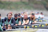 The Boat Race season 2018 - Women's Boat Race Trial Eights (CUWBC, Cambridge): Wingardium Leviosa approaching the finish line, here stroke Imogen Grant, 7 Myriam Goudet-Boukhatmi, 6 Larkin Sayre, 5 Tricia Smith, 4 Emma Andrews, 3 Pippa Darkin, 2 Sarah Carlotti, bow Lucy Pike. River Thames between Putney Bridge and Mortlake, London SW15,  United Kingdom, on 05 December 2017 at 12:59, image #160