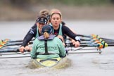 The Boat Race season 2018 - Women's Boat Race Trial Eights (CUWBC, Cambridge): Wingardium Leviosa:  Cox-Sophie Wrixon, stroke-Imogen Grant, 7-Myriam Goudet-Boukhatmi, 6-Larkin Sayre, 5-Tricia Smith, 4-Emma Andrews, 3-Pippa Darkin, 2-Sarah Carlotti, bow-Lucy Pike. River Thames between Putney Bridge and Mortlake, London SW15,  United Kingdom, on 05 December 2017 at 12:59, image #162