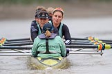 The Boat Race season 2018 - Women's Boat Race Trial Eights (CUWBC, Cambridge): Wingardium Leviosa:  Cox-Sophie Wrixon, stroke-Imogen Grant, 7-Myriam Goudet-Boukhatmi, 6-Larkin Sayre, 5-Tricia Smith, 4-Emma Andrews, 3-Pippa Darkin, 2-Sarah Carlotti, bow-Lucy Pike. River Thames between Putney Bridge and Mortlake, London SW15,  United Kingdom, on 05 December 2017 at 12:59, image #163