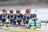 The Boat Race season 2018 - Women's Boat Race Trial Eights (CUWBC, Cambridge): Wingardium Leviosa:  Cox-Sophie Wrixon, stroke-Imogen Grant, 7-Myriam Goudet-Boukhatmi, 6-Larkin Sayre, 5-Tricia Smith, 4-Emma Andrews, 3-Pippa Darkin, 2-Sarah Carlotti, bow-Lucy Pike. River Thames between Putney Bridge and Mortlake, London SW15,  United Kingdom, on 05 December 2017 at 13:00, image #168
