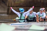The Boat Race season 2018 - Women's Boat Race Trial Eights (CUWBC, Cambridge): Expecto Patronum just after crossing the finish line, and winning by two length: Cox Sophie Shapter, stroke Alice White,  7 Abigail Parker, 6 Thea Zabell. River Thames between Putney Bridge and Mortlake, London SW15,  United Kingdom, on 05 December 2017 at 13:02, image #174