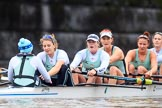 The Boat Race season 2018 - Women's Boat Race Trial Eights (CUWBC, Cambridge): Expecto Patronum just after crossing the finish line, and winning by two length: Cox-Sophie Shapter, stroke-Alice White,  7-Abigail Parker, 6-Thea Zabell, 5-Kelsey Barolak, 4-Laura Foster, 3-Sally O Brien. River Thames between Putney Bridge and Mortlake, London SW15,  United Kingdom, on 05 December 2017 at 13:02, image #176