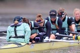 The Boat Race season 2018 - Women's Boat Race Trial Eights (CUWBC, Cambridge): Wingardium Leviosa, beaten after a strong race: Cox-Sophie Wrixon, stroke-Imogen Grant, 7-Myriam Goudet-Boukhatmi, 6-Larkin Sayre, 5-Tricia Smith, 4-Emma Andrews, 3-Pippa Darkin, 2-Sarah Carlotti, bow-Lucy Pike. River Thames between Putney Bridge and Mortlake, London SW15,  United Kingdom, on 05 December 2017 at 13:02, image #177