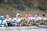 The Boat Race season 2018 - Women's Boat Race Trial Eights (CUWBC, Cambridge): Expecto Patronum just after crossing the finish line, and winning by two length: Cox-Sophie Shapter, stroke-Alice White,  7-Abigail Parker, 6-Thea Zabell, 5-Kelsey Barolak, 4-Laura Foster, 3-Sally O Brien, 2-Millie Perrin, bow-Eve Caroe. River Thames between Putney Bridge and Mortlake, London SW15,  United Kingdom, on 05 December 2017 at 13:02, image #178