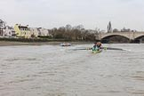 The Boat Race season 2018 - Women's Boat Race Trial Eights (CUWBC, Cambridge): Approaching the finish line, with Expecto Patronum about two length ahead of Wingardium Leviosa. River Thames between Putney Bridge and Mortlake, London SW15,  United Kingdom, on 05 December 2017 at 13:01, image #171
