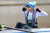 The Boat Race season 2018 - Women's Boat Race Trial Eights (CUWBC, Cambridge): A rare photo of a cox not shot from behind - Sophie Shapter on Expecto Patronum. River Thames between Putney Bridge and Mortlake, London SW15,  United Kingdom, on 05 December 2017 at 13:04, image #180