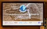The Boat Race season 2017 - Crew Announcement and Weigh-In: On the right of the big screen is the Women's Boat Race trophy. The Francis Crick Institute, London NW1,  United Kingdom, on 14 March 2017 at 11:06, image #3