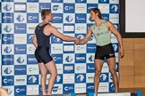 The Boat Race season 2017 - Crew Announcement and Weigh-In: In the 7 seat James Cook (OUBC) and Lance Tredell (CUBC) having the probably longest handshke in the history of The Boat Race. The Francis Crick Institute, London NW1,  United Kingdom, on 14 March 2017 at 11:39, image #101