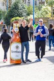 """The Boat Race season 2017 -  The Cancer Research Women's Boat Race: Marketing for German """"Krombacher"""" beer at Putney Embankment. River Thames between Putney Bridge and Mortlake, London SW15,  United Kingdom, on 02 April 2017 at 13:19, image #2"""