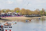 The Boat Race season 2017 -  The Cancer Research Women's Boat Race: Putney Embankment on Boat Race day, seen from Putney Bridge, with the BBC camera cranes. River Thames between Putney Bridge and Mortlake, London SW15,  United Kingdom, on 02 April 2017 at 13:27, image #4