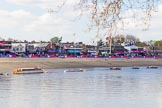 The Boat Race season 2017 -  The Cancer Research Women's Boat Race: Putney Embankment on Boat Race day, seen from Bishop's Park. River Thames between Putney Bridge and Mortlake, London SW15,  United Kingdom, on 02 April 2017 at 13:40, image #6