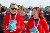The Boat Race season 2017 -  The Cancer Research Women's Boat Race: Two young ladies selling Boat Race programmes. River Thames between Putney Bridge and Mortlake, London SW15,  United Kingdom, on 02 April 2017 at 14:00, image #11
