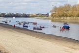 The Boat Race season 2017 -  The Cancer Research Women's Boat Race: A flotilla of historic boats on the Thames, keeping the crowds entertained. River Thames between Putney Bridge and Mortlake, London SW15,  United Kingdom, on 02 April 2017 at 14:02, image #12